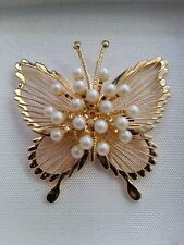 Vintage Monet Gold Tone Faux Pearl Butterfly Brooch Pin Signed