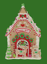 "Christmas LED Light Up The Reindeer Barn Village House 9"" High New"