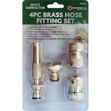 4Pc Brass Hose Fitting Set Spray Nozzle Pipe Connectors Adapters Kit Gardening
