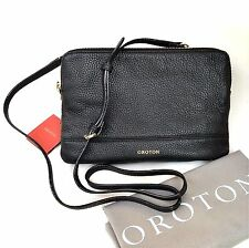 RRP$395 New OROTON Bueno Double Large Clutch Crossbody Bag Leather Black SALE