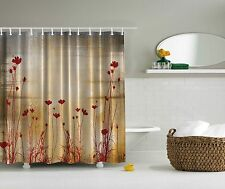 Maroon Red Flower Silhouette Beige Floral Fabric Shower Curtain Digital Bathroom