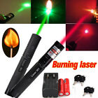 Hot ! 532NM GREEN 650NM RED LASER POINTER PEN BURNING+18650 BATTERY +CHARGER!