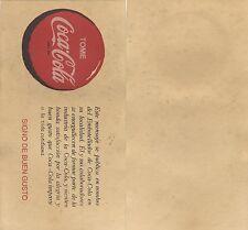 Año 1950 - Papel secante de cartel publicitario de Coca-Cola. Tamaño 290x150 mm.