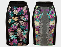 EX DOROTHY PERKINS LADIES BLACK FLORAL SMART PENCIL SKIRTS 6 8 10 12 14 16 *NEW*