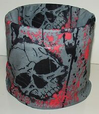 Grey Red Skulls Tubular Multi Function Headwear Scarf Balaclava Beanie Headwrap