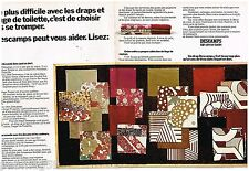 Publicité Advertising 1972 (2 pages) Linge de maison draps Descamps