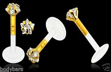 14.000 CARATI GOLD Labret 3mm Claw Set Star GEM MONROE BIOPLAST Piercing barra 16G