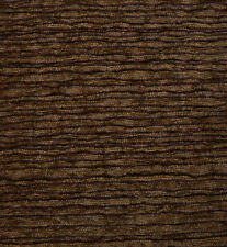 Drapery Upholstery Fabric Textured Chenille Rippling Horizontal Stripes - Brown