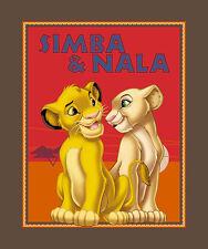 """LION KING SIMBA & NALA CUBS 35""""x44""""  DISNEY WALLHANGING  LAP QUILT FABRIC PANEL"""