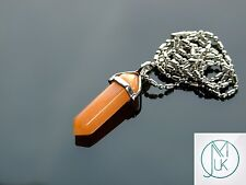 Red Aventurine Crystal Point Pendant Natural Gemstone Necklace Healing Stone