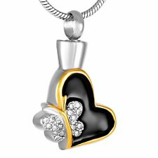 Stainless Steel Heart / Butterfly Gold Cremation Pendant Urn Jewelry Holds Ashes