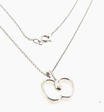Apple Pendant Necklace Chain Sterling Silver .5x.75x18""