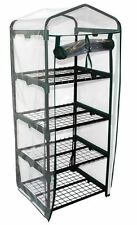 4 TIER SMALL PLASTIC COVERED GREENHOUSE MINI SPACE SAVER PROPOGATE PLANTS GHPRO