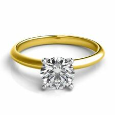 4.00CT Forever One Moissanite 4 Prong Solitaire Wedding Ring 14K Two Tone Gold