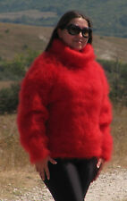 MOHAIR Hand Knit RED Sweater Turtleneck Fuzzy Pullover Jumper Unisex Fluffy Cosy