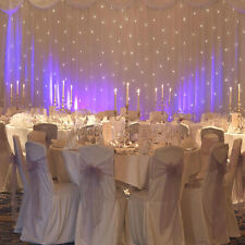 White Starlight Curtain with built-in lights with detachable voille overlay+swag