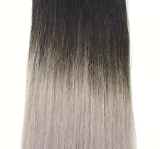 BALAYAGE OMBRE CLIP IN REMY HUMAN HAIR EXTENSIONS BLONDE BROWN BLACK RED BLUE