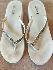 Guess Michelle White & Silver Wedge Flip Flops Size 7