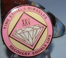 Alcoholics Anonymous AA NA PINK 25 Year Medallion Recovery Token Chip sober