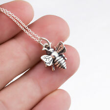 925 Sterling Silver Buzzing Honey Bee Necklace - Queen Bee Bumblebee Pendant 18""