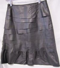 UENSHADI LEATHER SKIRT BLACK TIERED LAYERED A-LINE SZ M