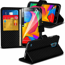 Carbon Fibre Wallet Flip Case Cover, Screen Protector For Samsung Galaxy S5 Neo