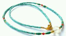 Afghan Turquoise, Malachite, Coral, Antique Roman Glass Pendant Beads Necklace