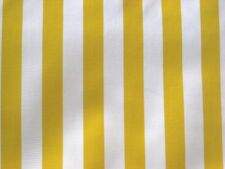 YELLOW + WHITE CABANA STRIPE SUN BEACH OILCLOTH VINYL SEW CRAFT DECOR FABRIC BTY