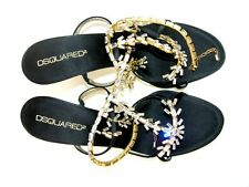 NEW DSQUARED SHOES SANDALS SWAROVSKI CRYSTALS & GOLD CHAIN It. 39 - US 9