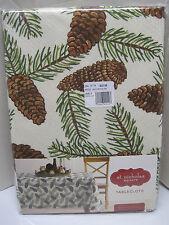 "St. Nicholas Square 70"" Round Pinecone Fall Christmas Tablecloth New"