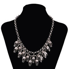 GOTH SKULL NECKLACE 17 SKULLS -  HALLOWEEN DAY OF THE DEAD- STATEMENT