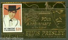 ST. VINCENT GRENADINES  70th BIRTH ANNIVERSARY ELVIS PRESLEY GOLD FOIL STAMP NH