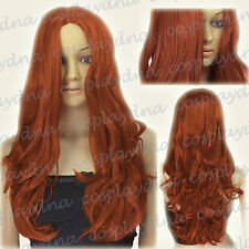 24 inch Hi_Temp Series Copper Red Midpart Curly Wavy Cosplay DNA Wigs 38350