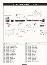 1980 YAMAHA MUSICAL INSTRUMENT PARTS LIST ad sheet - CLARINET model YCL-61