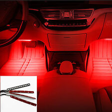 RED Cold 4x 12 LED Car SUV Interior Light Trim Atmosphere Panel Neon Lamp Strip
