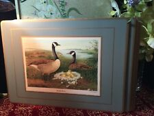 """TRADITIONAL PLACE MATS BY PIMPERNEL 18"""" x 13"""" Set of 4 WATER BIRDS GREY - w/ Box"""