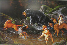 Troubled  Waters By Tom Mansanarez Bear Dogs Hunting Print 5x7