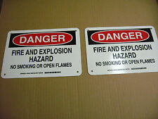 "7"" x 10"" Aluminum, ""DANGER FIRE AND EXPLOSION HAZARD NO SMOKING"" (Qty 2) EC3-3"
