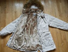 Immaculate NEXT Faux Fur Lined Parka/Coat, in Stone Colour, 9-10 yrs, RRP £60+!