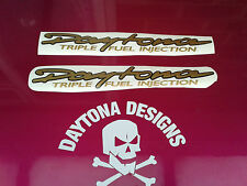 DAYTONA TRIPLE FUEL INJECTION GOLD & BLACK CUSTOM FAIRING DECALS STICKERS