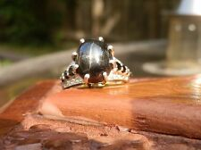 Star Diopside and Thai Black Spinel Sterling Silver Ring Size 7