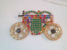 Gorgeous Multi Colored Rhinestone Princess Carriage Charm Marked Paris LARGE