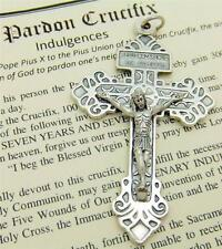 "MRT Pardon Crucifix Silver Plate Catholic Protection Cross wLeaflet  2.25"" Italy"
