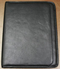 "LEEDS Black GENUINE Leather Notepad PADFOLIO PLANNER  for 8.5"" x 11"" writing pad"