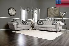 Beautiful USA Made Sofa Loveseat Nailhead Classic Deep Tufted/ Trim Rolled Arms