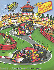 2013 SAHLENS MOTORSPORTS 2 CARS ON TRACK #42/43 GRAND AM ROLEX SERIES POSTCARD