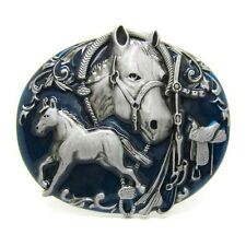 Western Cowboy Racing Horse and Bridle Belt Buckle Mens Vintage Rodeo Arabesque