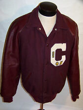 VINTAGE BURGUNDY VARSITY/LETTERMAN JACKET! WOOL! LEATHER SLEEVES! MADE IN USA! L