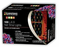 Christmas 100 LED Battery Operated Net Lights with Timer Multi-Colour