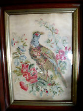 Antique  Victorian Punch Paper Needlepoint  Sampler  Beautiful Bird w/ Flowers